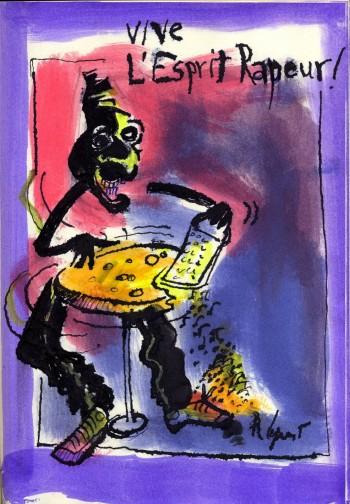 L'affiche de L'Esprit frappeur : un dessin original d'Allain Leprest