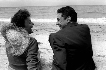 Edith Piaf et Georges Moustaki sur la plage de Deauville (photo DR prélevée à la toile)