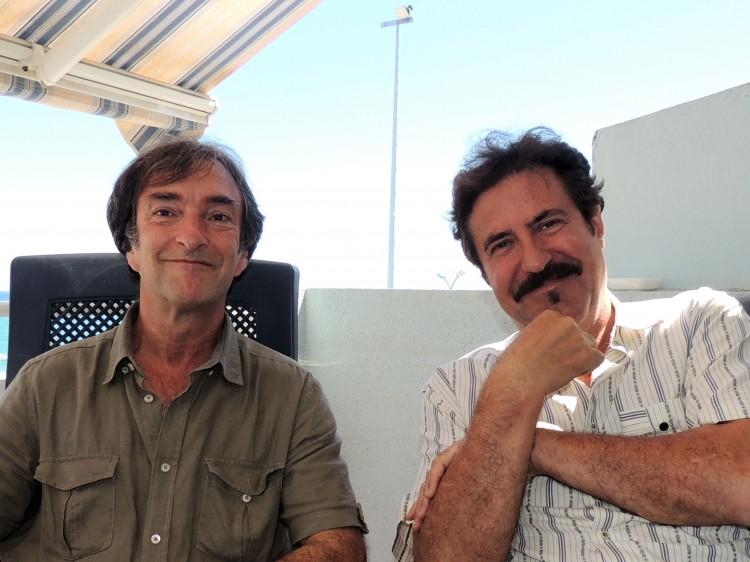 Michel Trihoreau et son préfacier Serge Llado (photo Martine Ladagnous)