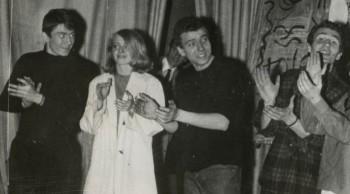 Alain Meilland, Michèle Hubert, Bernard Oulion et Stéphane Duk, en mars 1965, lors du spectacle lycéen