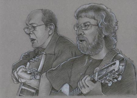 Gérard Gorsse, avec en arrière plan le guitariste (dessin Gilles Poulou)
