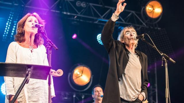 Marie Sauvet et Gabriel Yacoub hier au soir à Paimpol (photo Ouest-France)