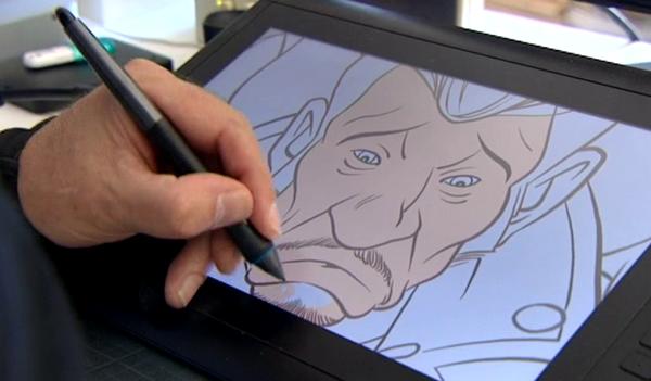 Johnny sur l'écran du dessinateur Jean-Marc Héran (copié d'écran)