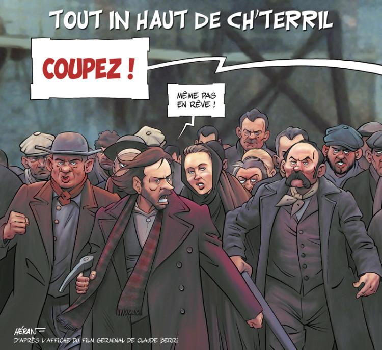 """Dessin de Jean-Marc Héran extrait de la nouvelle édition du livre """"Renaud à la plume et au pinceau"""" de Michel Kemper et Héran."""