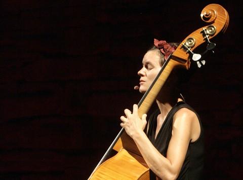 Pauline Dupuy, dite Contrebrassens, à Barjac (photo Anne-Marie Panigada)
