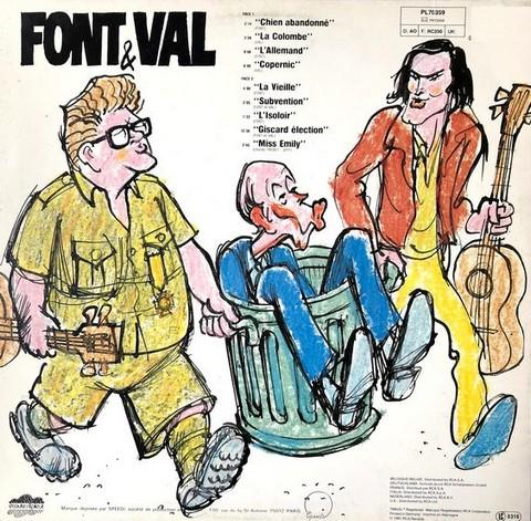"""Le dos de la pochette de Font & Val """"Messieurs plus"""". Dessin de Cabu."""