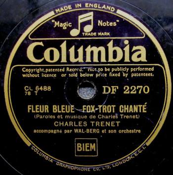 TRENET 1937 Fleur bleue 78t DF2270- Je chante